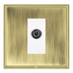 Hamilton Linea-Perlina CFX Polished Brass/Antique Brass 1 Gang Digital Satellite with White Insert