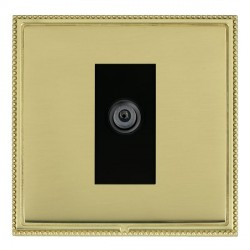 Hamilton Linea-Perlina CFX Polished Brass/Polished Brass 1 Gang Digital Satellite with Black Insert