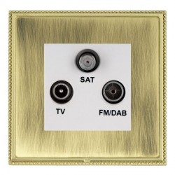 Hamilton Linea-Perlina CFX Polished Brass/Antique Brass TV+FM+SAT (DAB Compatible) with White Insert