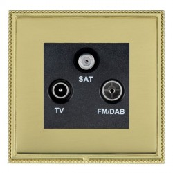 Hamilton Linea-Perlina CFX Polished Brass/Polished Brass TV+FM+SAT (DAB Compatible) with Black Insert