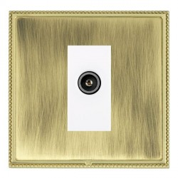 Hamilton Linea-Perlina CFX Polished Brass/Antique Brass 1 Gang TV (Female) with White Insert