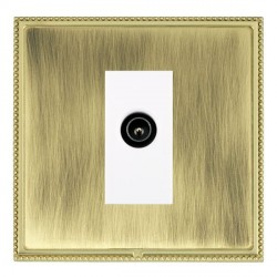 Hamilton Linea-Perlina CFX Polished Brass/Antique Brass 1 Gang TV (Male) with White Insert