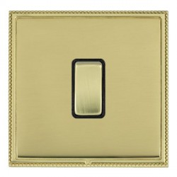 Hamilton Linea-Perlina CFX Polished Brass/Polished Brass 1 Gang 10amp 2 Way Rocker with Black Insert
