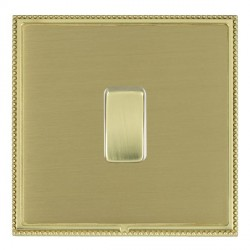 Hamilton Linea-Perlina CFX Polished Brass/Satin Brass 1 Gang 10amp 2 Way Rocker with White Insert
