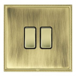Hamilton Linea-Perlina CFX Polished Brass/Antique Brass 2 Gang 10amp 2 Way Rocker with Black Insert