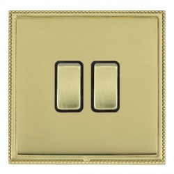 Hamilton Linea-Perlina CFX Polished Brass/Polished Brass 2 Gang 10amp 2 Way Rocker with Black Insert
