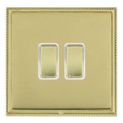 Hamilton Linea-Perlina CFX Polished Brass/Polished Brass 2 Gang 10amp 2 Way Rocker with White Insert
