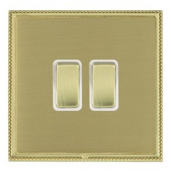 Hamilton Linea-Perlina CFX Polished Brass/Satin Brass 2 Gang 10amp 2 Way Rocker with White Insert