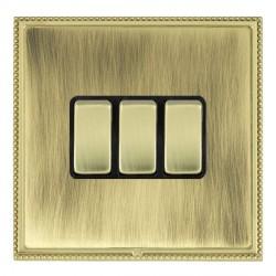 Hamilton Linea-Perlina CFX Polished Brass/Antique Brass 3 Gang 10amp 2 Way Rocker with Black Insert