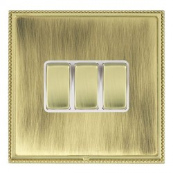 Hamilton Linea-Perlina CFX Polished Brass/Antique Brass 3 Gang 10amp 2 Way Rocker with White Insert