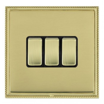 Hamilton Linea-Perlina CFX Polished Brass/Polished Brass 3 Gang 10amp 2 Way Rocker with Black Insert