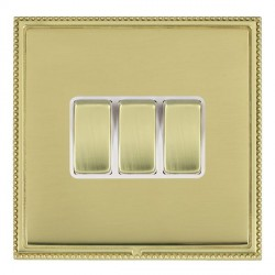 Hamilton Linea-Perlina CFX Polished Brass/Polished Brass 3 Gang 10amp 2 Way Rocker with White Insert