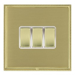 Hamilton Linea-Perlina CFX Polished Brass/Satin Brass 3 Gang 10amp 2 Way Rocker with White Insert