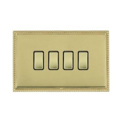 Hamilton Linea-Perlina CFX Polished Brass/Polished Brass 4 Gang 10amp 2 Way Rocker with Black Insert