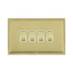 Hamilton Linea-Perlina CFX Polished Brass/Polished Brass 4 Gang 10amp 2 Way Rocker with White Insert