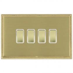Hamilton Linea-Perlina CFX Polished Brass/Satin Brass 4 Gang 10amp 2 Way Rocker with White Insert