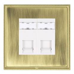 Hamilton Linea-Perlina CFX Polished Brass/Antique Brass 2 Gang RJ45 Outlet Cat 5e Unshielded with White Insert
