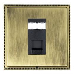 Hamilton Linea-Perlina CFX Antique Brass/Antique Brass 1 Gang RJ45 Outlet Cat 5e Unshielded with Black Insert