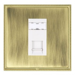 Hamilton Linea-Perlina CFX Polished Brass/Antique Brass 1 Gang RJ45 Outlet Cat 5e Unshielded with White Insert