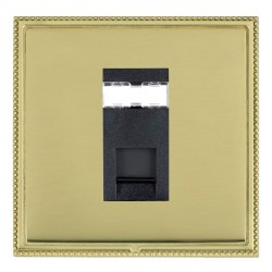 Hamilton Linea-Perlina CFX Polished Brass/Polished Brass 1 Gang RJ45 Outlet Cat 5e Unshielded with Black Insert