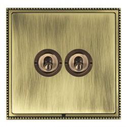 Hamilton Linea-Perlina CFX Antique Brass/Antique Brass 2 Gang 2 Way Dolly with Antique Brass Insert