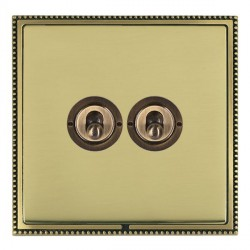 Hamilton Linea-Perlina CFX Antique Brass/Polished Brass 2 Gang 2 Way Dolly with Antique Brass Insert