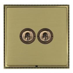 Hamilton Linea-Perlina CFX Antique Brass/Satin Brass 2 Gang 2 Way Dolly with Antique Brass Insert