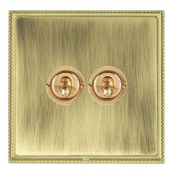 Hamilton Linea-Perlina CFX Polished Brass/Antique Brass 2 Gang 2 Way Dolly with Polished Brass Insert