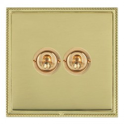 Hamilton Linea-Perlina CFX Polished Brass/Polished Brass 2 Gang 2 Way Dolly with Polished Brass Insert