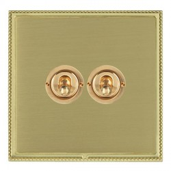 Hamilton Linea-Perlina CFX Polished Brass/Satin Brass 2 Gang 2 Way Dolly with Polished Brass Insert