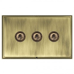 Hamilton Linea-Perlina CFX Antique Brass/Antique Brass 3 Gang 2 Way Dolly with Antique Brass Insert