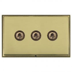 Hamilton Linea-Perlina CFX Antique Brass/Polished Brass 3 Gang 2 Way Dolly with Antique Brass Insert