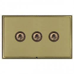 Hamilton Linea-Perlina CFX Antique Brass/Satin Brass 3 Gang 2 Way Dolly with Antique Brass Insert
