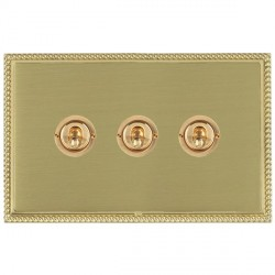 Hamilton Linea-Perlina CFX Polished Brass/Satin Brass 3 Gang 2 Way Dolly with Polished Brass Insert