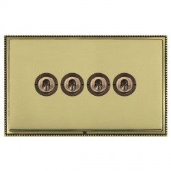 Hamilton Linea-Perlina CFX Antique Brass/Polished Brass 4 Gang 2 Way Dolly with Antique Brass Insert