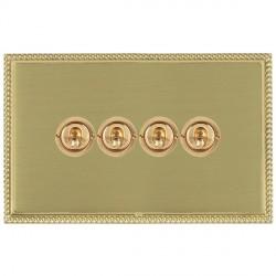 Hamilton Linea-Perlina CFX Polished Brass/Satin Brass 4 Gang 2 Way Dolly with Polished Brass Insert