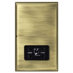 Hamilton Linea-Perlina CFX Antique Brass/Antique Brass Shaver Socket Dual Voltage with Black Insert
