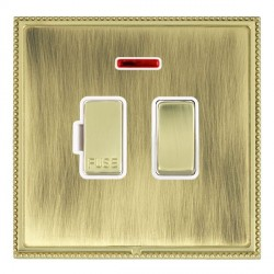 Hamilton Linea-Perlina CFX Polished Brass/Antique Brass 1 Gang 13A Fused Spur, Double Pole + Neon with White Insert