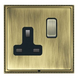 Hamilton Linea-Perlina CFX Antique Brass/Antique Brass 1 Gang 13A Switched Socket - Double Pole with Black Insert