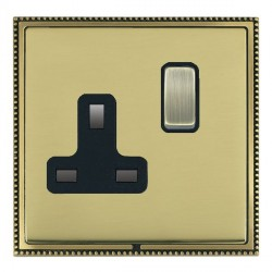 Hamilton Linea-Perlina CFX Antique Brass/Polished Brass 1 Gang 13A Switched Socket - Double Pole with Black Insert