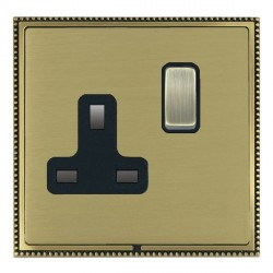 Hamilton Linea-Perlina CFX Antique Brass/Satin Brass 1 Gang 13A Switched Socket - Double Pole with Black Insert
