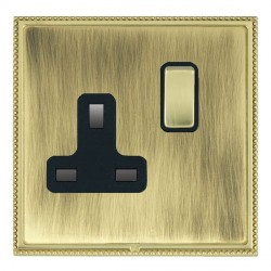 Hamilton Linea-Perlina CFX Polished Brass/Antique Brass 1 Gang 13A Switched Socket - Double Pole with Black Insert