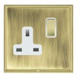 Hamilton Linea-Perlina CFX Polished Brass/Antique Brass 1 Gang 13A Switched Socket - Double Pole with White Insert