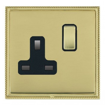 Hamilton Linea-Perlina CFX Polished Brass/Polished Brass 1 Gang 13A Switched Socket - Double Pole with Black Insert