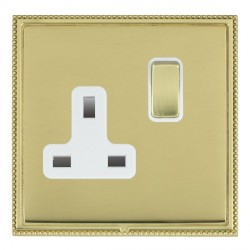 Hamilton Linea-Perlina CFX Polished Brass/Polished Brass 1 Gang 13A Switched Socket - Double Pole with White Insert
