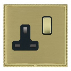 Hamilton Linea-Perlina CFX Polished Brass/Satin Brass 1 Gang 13A Switched Socket - Double Pole with Black Insert
