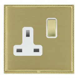 Hamilton Linea-Perlina CFX Polished Brass/Satin Brass 1 Gang 13A Switched Socket - Double Pole with White Insert