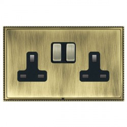Hamilton Linea-Perlina CFX Antique Brass/Antique Brass 2 Gang 13A Switched Socket - Double Pole with Black Insert