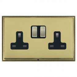 Hamilton Linea-Perlina CFX Antique Brass/Polished Brass 2 Gang 13A Switched Socket - Double Pole with Black Insert
