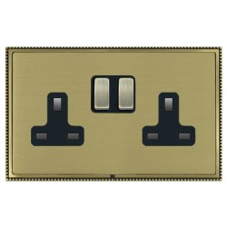 Hamilton Linea-Perlina CFX Antique Brass/Satin Brass 2 Gang 13A Switched Socket - Double Pole with Black Insert